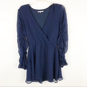 Tularosa navy blue ruched sleeve mini dress